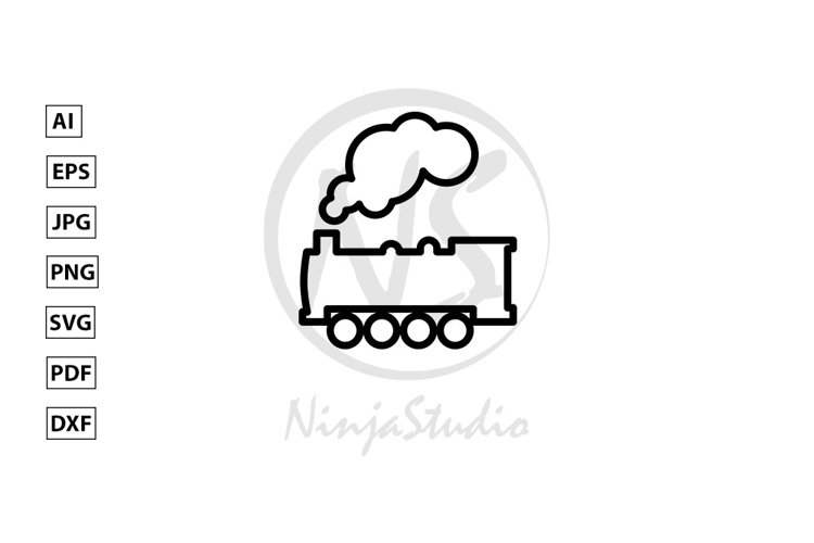 Steam Locomotive Train Line Icon In Flat Style Vector example image 1