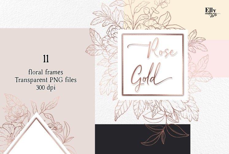 Rose Gold Floral Frames