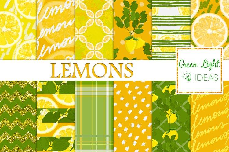 Lemons Digital Papers, Lemons Backgrounds, Citrus Patterns
