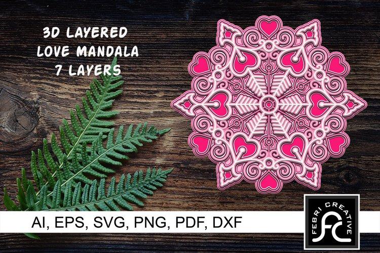3d Layered Love Mandala - SVG - Valentine