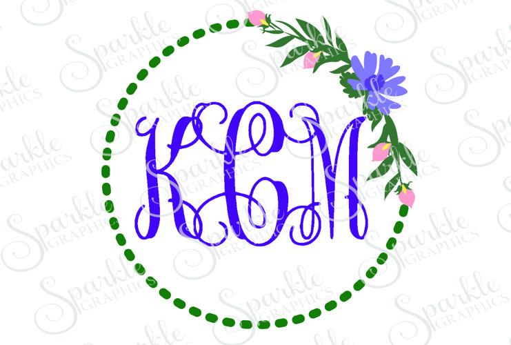 Floral Monogram Frame Cut File Set   SVG, EPS, DXF, PNG example image 1