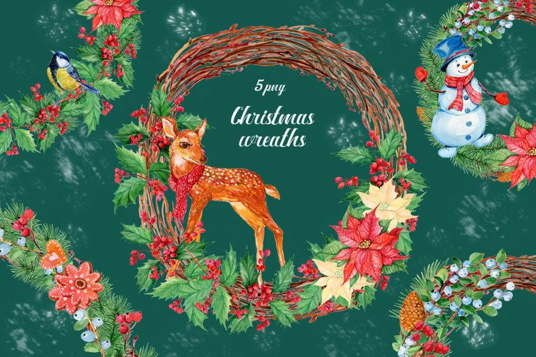 5 Christmas wreaths.watercolor illustration example image 1