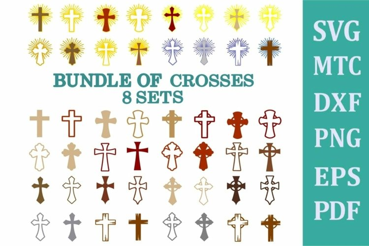 Religion 50 Cross Bundle OUTLINE & LAYERED SVG Cut Files