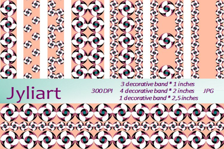 Border Patterns Clipart, Flower of luck, Decorative bands. P