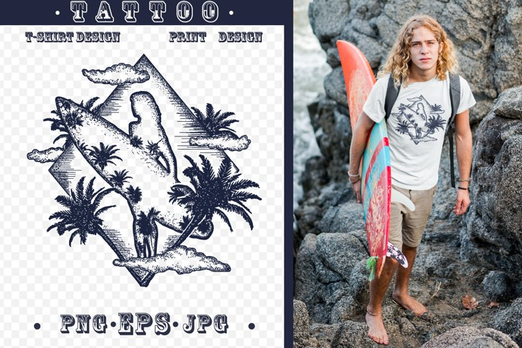 Surfing tattoo example image 1
