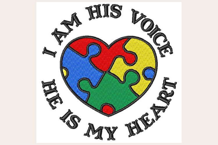 Autism Awareness Heart - Machine Embroidery Design