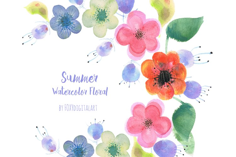 Watercolor Flowers Wedding Wreath Clipart Hand Painted example image 1