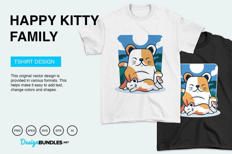 Happy Kitty Family Vector Illustration For T-Shirt Design