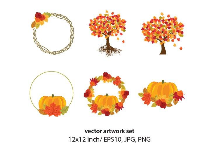 autumn leaves - vector artwork set example image 1