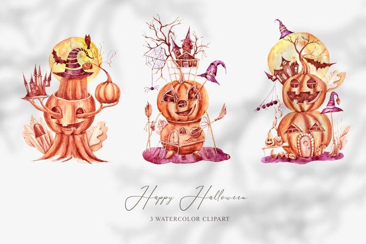 3 watercolor Halloween pumpkin clipart. Halloween poster example image 1