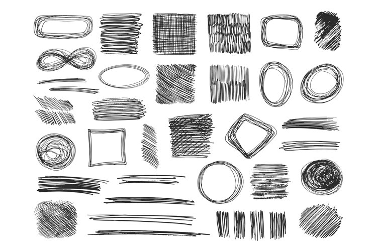 Sketch shapes. Hand drawn scribble frames. Pencil doodles. S example image 1
