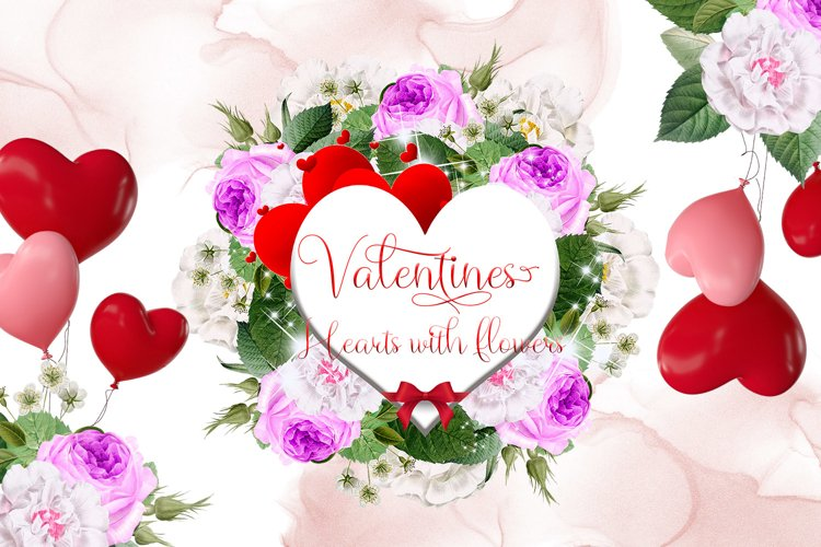 Valentines Hearts with Watercolor Flowers example image 1