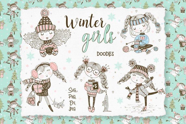 Cute girls winter digital clipart in Doodle style.