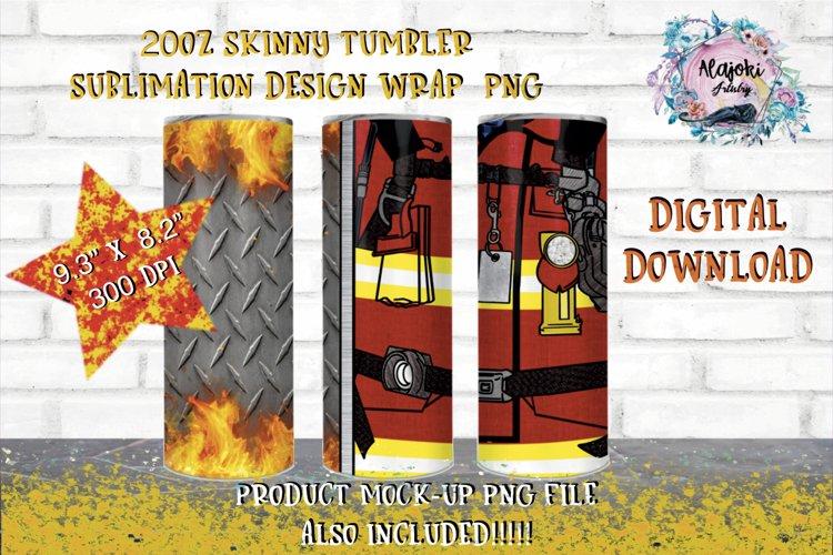 20oz| Yellow| Red Firemen Split| Sublimation Tumbler Wrap| example image 1