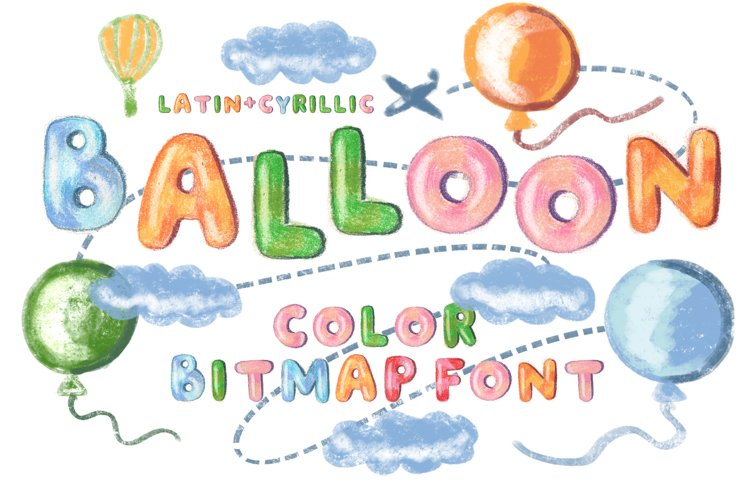 """""""Balloon"""" color bitmap font example image 1"""
