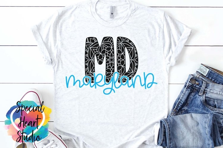 Maryland Mandala - A State SVG Cut File example image 1