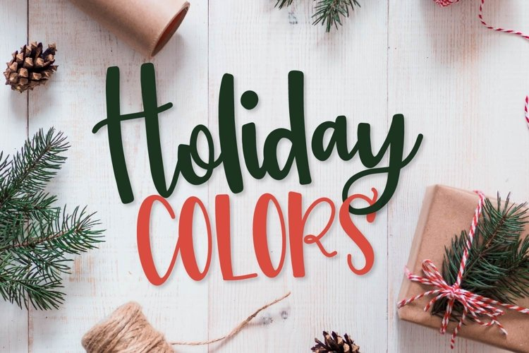 Holiday Colors - A Script & Print Font TRIO for Christmas! example image 1