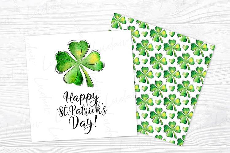 St. Patrick's Day Watercolor Shamrock card design JPG example image 1