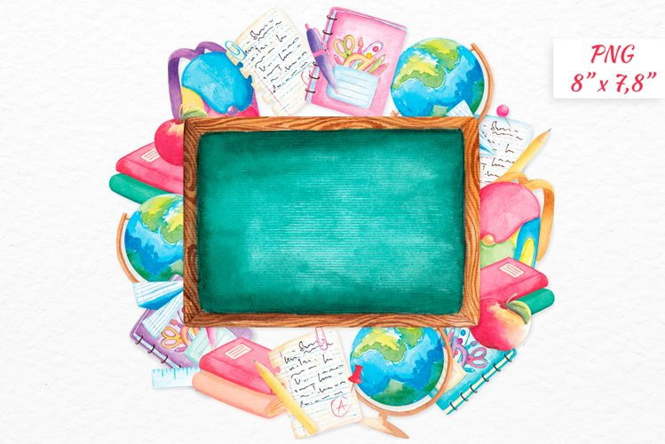 Back to school wreath Watercolor clipart School supplies example image 1