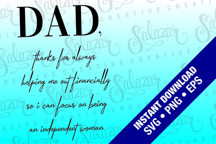 Thanks Dad, From Daughter, Funny Fathers day card EPS SVG example image 1