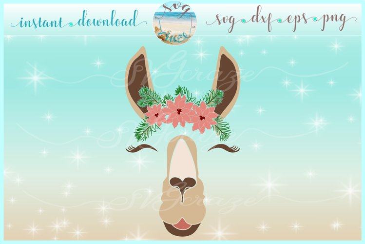Llama Face With Poinsettia SVG Dxf Eps Png PDF Files example image 1