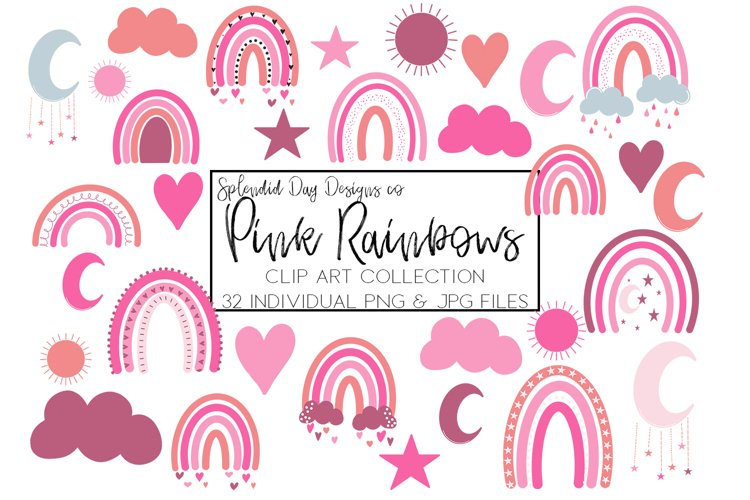 Pink Rainbows clip art example image 1