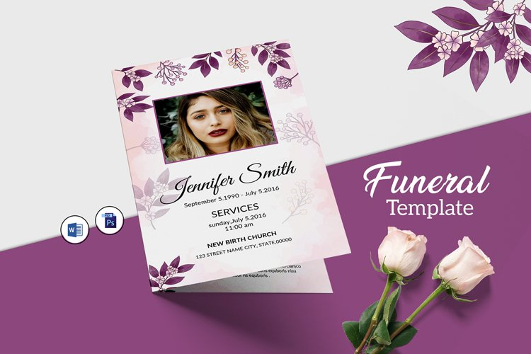 Floral Funeral Program MS Word & Photoshop Template example image 1