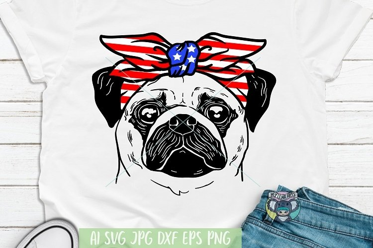 4th of July svg, Pug svg, Dog Face, Patriotic, Cricut File example image 1
