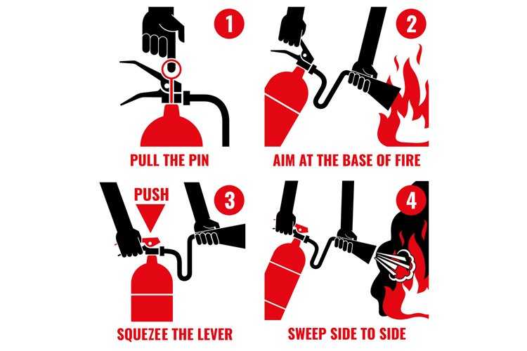 Fire extinguisher instruction vector labels set example image 1