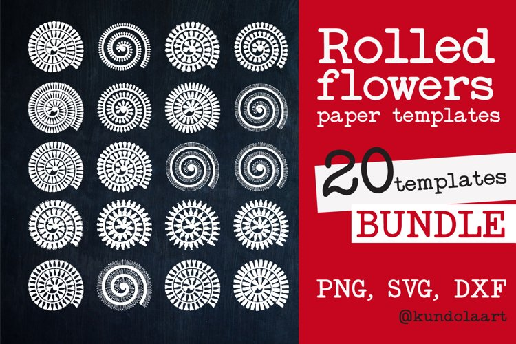 Rolled Flower paper template SVG. Rolled Flower SVG.
