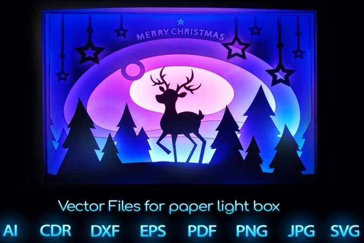 Merry Christmas Light box PDF SVG Ai CDR template Papercut example image 1