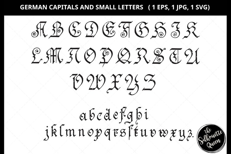 German Capital and Small Letter Svg Cut File