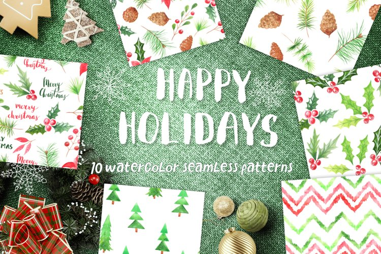 Watercolor 10 Christmas Patterns example image 1