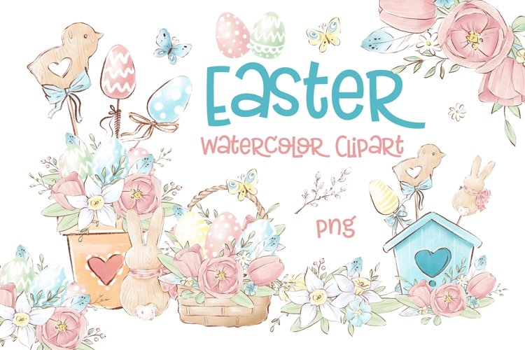 Easter Watercolor Clipart example image 1