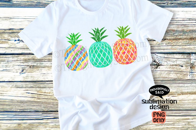 Tropical Pineapples PNG For Sublimation, Beachy Vibe example image 1