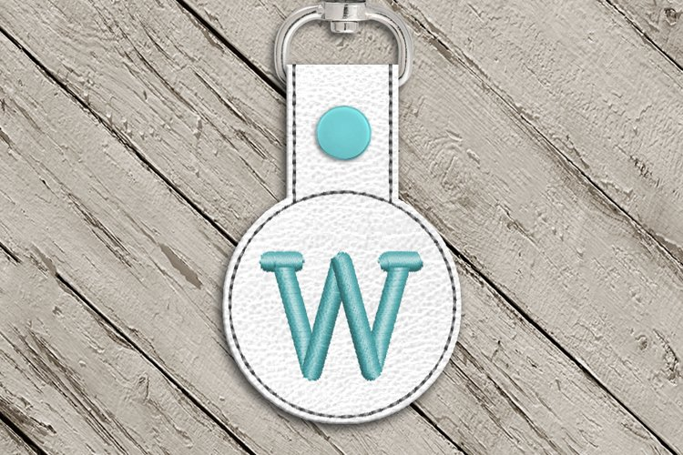 Letter W Round ITH Key Fob In the Hoop Embroidery Design