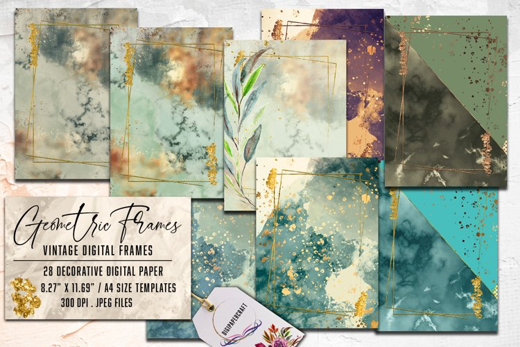 Geometric Frames - Floral Watercolor Frames, digital paper example image 1