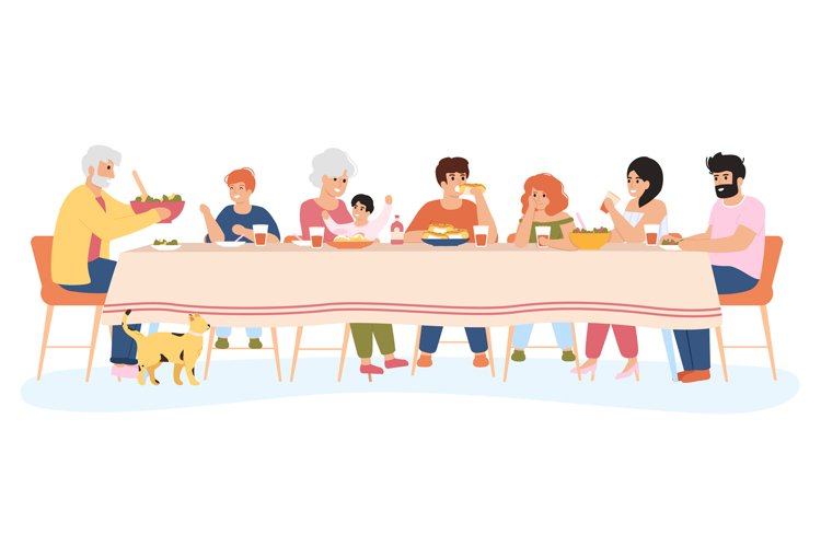 Family meal. People dining together, family eating delicious