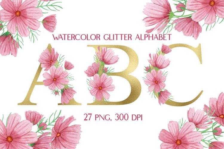 Gold Floral Alphabet Pink Flowers Watercolor Clipart