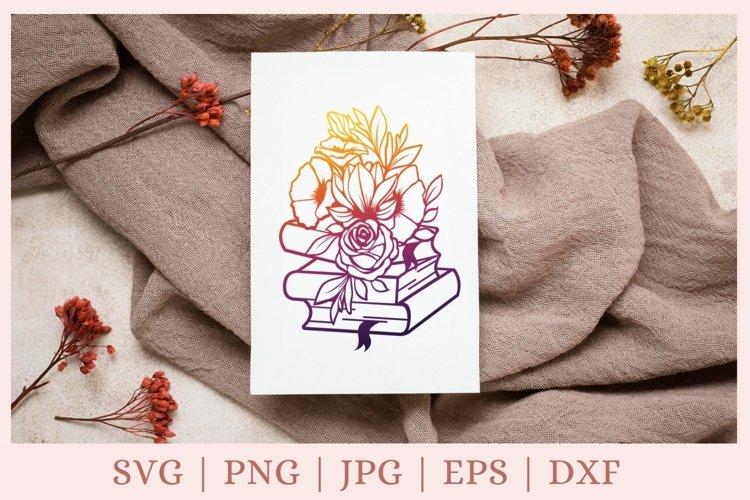 Book svg, Floral books svg png
