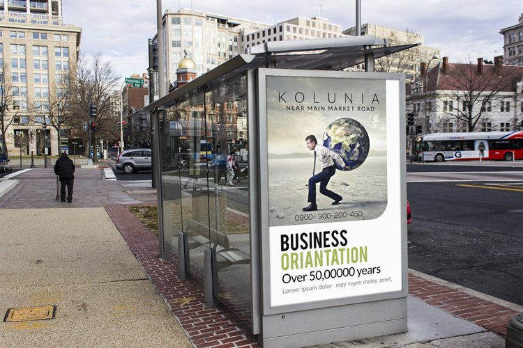 Business Bus Stop Ad Poster Template example image 1