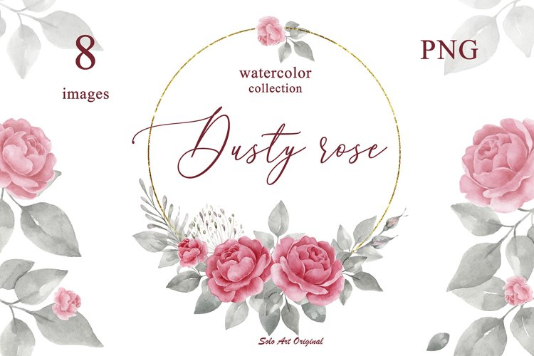 Dusty rose Floral Frame Clipart PNG JPEG Watercolor
