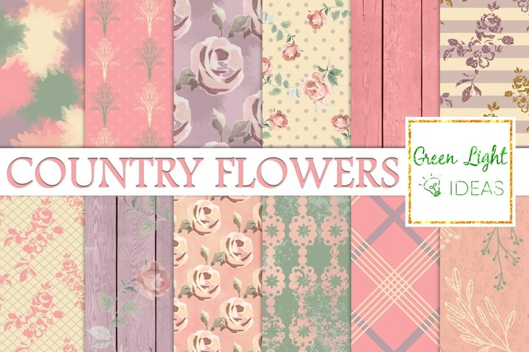 Shabby Country Flowers Digital Papers, Floral Backgrounds example image 1