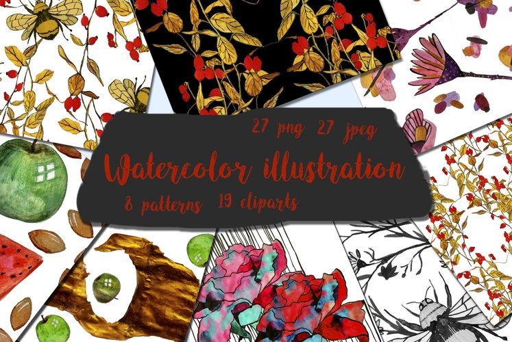 Colorful watercolor illustration. Patterns and elements