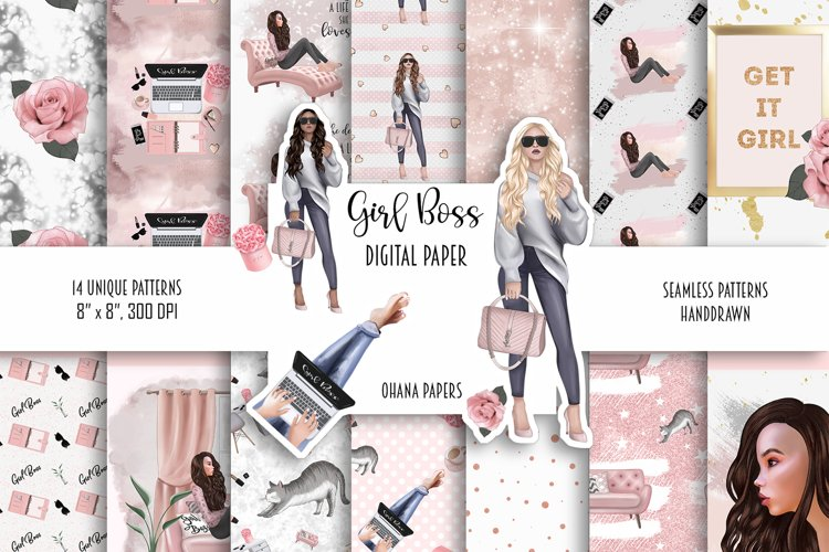 GIRL BOSS Digital Paper Pack - Fashion Illustration Patterns example image 1