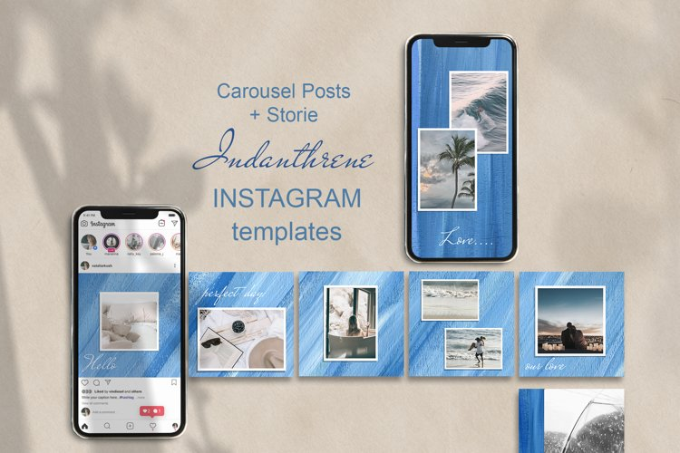 Carousel Posts Feed and Stories. Instagram BlueTemplate example image 1