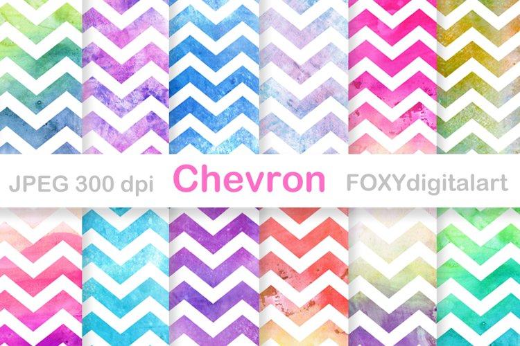 Digital Paper Chevron Watercolor Ombre Scrapbook example image 1