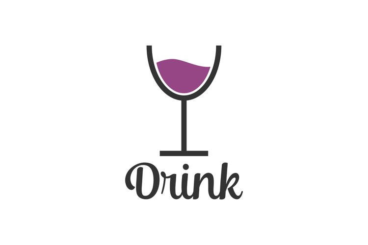 Drink glass logo design - restaurant bar and cafe, cup grape