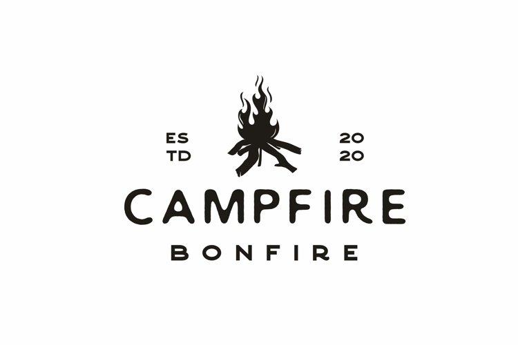 Vintage Burning Bonfire for Camping Logo Design example image 1