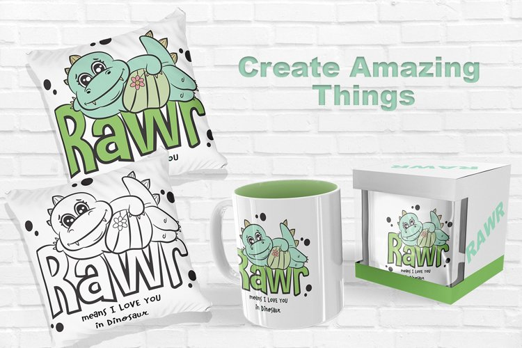 Rawr Dinosaur Illustration for Sublimation